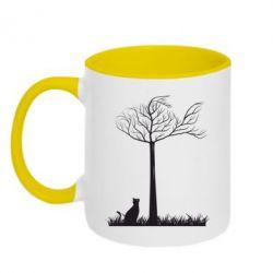 Кружка двухцветная Кот прыгает на дерево - FatLine