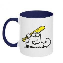 Кружка двухцветная Кот Саймона с битой - FatLine