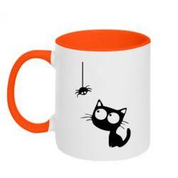 Кружка двухцветная Котик и паук - FatLine