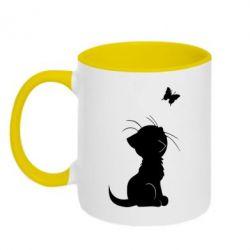 Кружка двухцветная Котик с бабочкой - FatLine