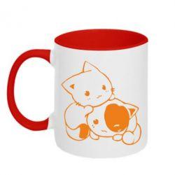 Кружка двухцветная котята - FatLine
