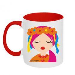Кружка двухцветная Красива україночка - FatLine