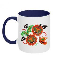Кружка двухцветная 320ml Квіти України