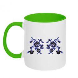 Кружка двухцветная Квітковий орнамент - FatLine