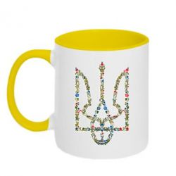 Кружка двухцветная 320ml Квітучий герб України