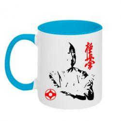 Кружка двухцветная Kyokushin Kanku logo - FatLine