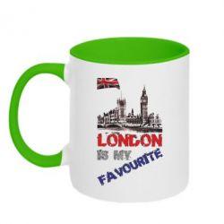 Кружка двухцветная Лондон цветной