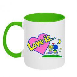 Кружка двухцветная Love is... - FatLine