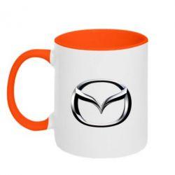 Кружка двухцветная Mazda 3D Logo - FatLine