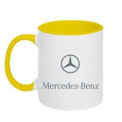 Кружка двухцветная Mercedes Benz logo - FatLine
