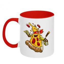 Кружка двухцветная Микеланджело кусок пиццы - FatLine