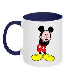 Кружка двухцветная Микки Маус стесняется - FatLine