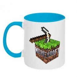 Кружка двухцветная Minecraft Logo Сube - FatLine