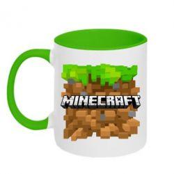 Кружка двухцветная Minecraft Main Logo - FatLine