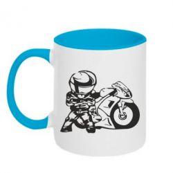 Кружка двухцветная Мотоциклист - FatLine