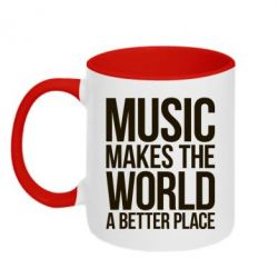 Кружка двухцветная Music makes the world a better place - FatLine