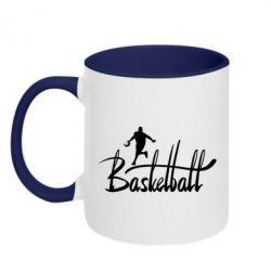 Кружка двокольорова Напис Баскетбол - FatLine