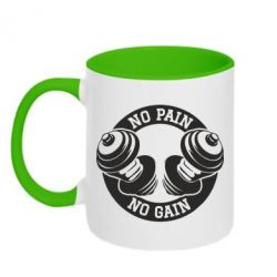 Кружка двухцветная No pain no gain гантели - FatLine