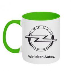 Кружка двухцветная Opel Wir leben Autos - FatLine