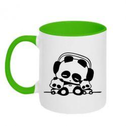 Кружка двухцветная Панда в наушниках - FatLine