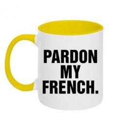 Кружка двухцветная Pardon my french. - FatLine