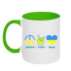 Кружка двухцветная Peace, Rock, Love - FatLine