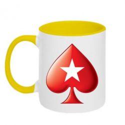 Кружка двухцветная Poker Stars 3D Logo - FatLine