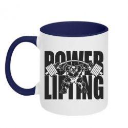 Кружка двухцветная Powerlifting logo - FatLine