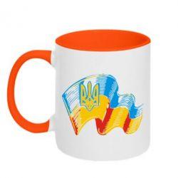 Кружка двухцветная 320ml Прапор України з гербом