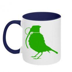 Кружка двухцветная Птичка с гранатой - FatLine