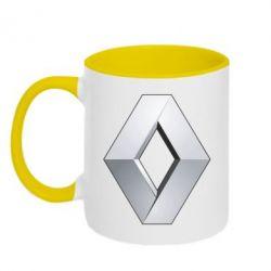 Кружка двухцветная Renault Logo - FatLine