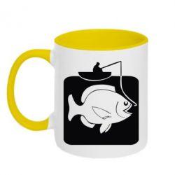 Кружка двухцветная Рыба на крючке - FatLine