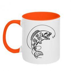 Кружка двухцветная Рыба - FatLine