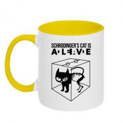 Кружка двухцветная Schrodinger's cat is alive - FatLine