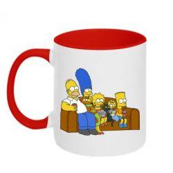 Кружка двухцветная Семейство Симпсонов - FatLine