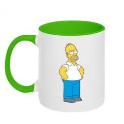 Кружка двухцветная Серьезный Homer - FatLine