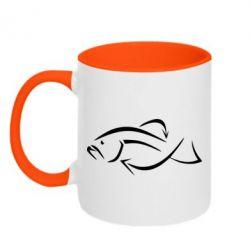 Кружка двухцветная Силуэт рыбы - FatLine