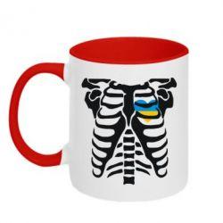 Кружка двухцветная Скелет з сердцем Україна - FatLine