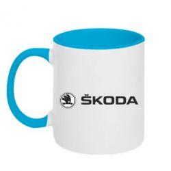 Кружка двухцветная Skoda logo - FatLine