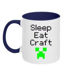 Кружка двухцветная Sleep,eat, craft - FatLine