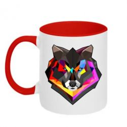 Кружка двухцветная Сolorful wolf - FatLine