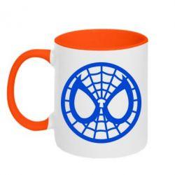 Кружка двухцветная Спайдермен лого - FatLine