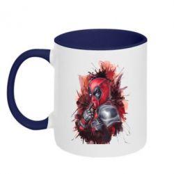 Кружка двухцветная Стесняшка Deadpool