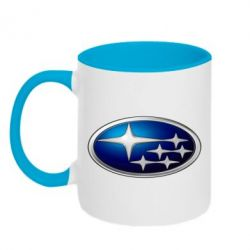 Кружка двухцветная Subaru 3D Logo - FatLine