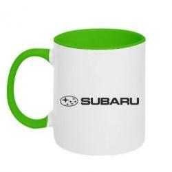 Кружка двухцветная Subaru logo - FatLine