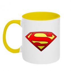 Кружка двухцветная Superman Logo - FatLine