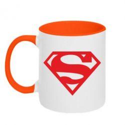 Кружка двухцветная Superman одноцветный - FatLine