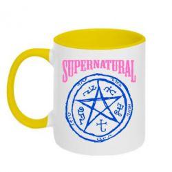 Кружка двухцветная Supernatural круг - FatLine