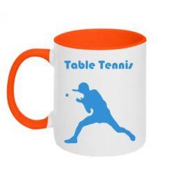 Кружка двухцветная Table Tennis Logo - FatLine