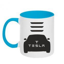 Кружка двухцветная Tesla Car - FatLine